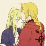 1boy 1girl ;| antenna_hair bangs blonde_hair blue_eyes blush braid close-up coat earrings edward_elric empty_eyes expressionless eyebrows_visible_through_hair eyelashes facing_away fingernails flamel_symbol forehead_kiss frown fullmetal_alchemist hand_on_another's_arm height_difference jewelry kiss looking_away nervous one_eye_closed pink_background ponytail red_coat shirt simple_background sweatdrop tsukuda0310 upper_body white_shirt winry_rockbell