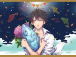 bird blue_eyes brown_hair bug butterfly crossed_arms dolphin dr. fish flower free! happy_birthday insect looking_at_viewer male_focus nanase_haruka_(free!) penguin shark shirt solo star unbuttoned upper_body white_shirt wind