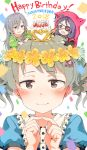 2018 3girls :d alternate_hairstyle animal_hood bangs belt_buckle birthday_cake black_belt black_shirt blue_shirt blush bow braid brown_eyes brown_hair buckle cake candle chains character_name closed_mouth crescent_moon double_bun eyebrows_visible_through_hair eyepatch fang fingernails fingers_together flower food gomennasai green_shirt hair_between_eyes hair_bow hair_flower hair_ornament hands_up happy_birthday hayasaka_mirei heart highres hood hood_up hoshi_shouko idolmaster idolmaster_cinderella_girls individuals jacket long_hair long_sleeves looking_at_viewer minigirl moon morikubo_nono multiple_girls on_head open_mouth pink_bow puffy_sleeves purple_hair red_jacket ringlets shirt short_over_long_sleeves short_sleeves side_braid side_bun silver_hair single_braid smile wide_sleeves yellow_flower