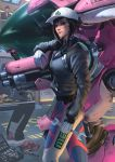 2girls animal_print arm_at_side bangs black_hair black_jacket blue_bodysuit bodysuit bunny_print closed_mouth commentary d.va_(overwatch) dirty_face gloves hat headphones headphones_around_neck highres holding holding_weapon holding_wrench jacket long_sleeves looking_at_viewer meka_(overwatch) multiple_girls overwatch partially_unzipped raikoart red_lips shaded_face smile solo_focus standing weapon white_gloves white_hat