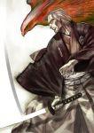 1boy bird fate/grand_order fate_(series) grey_hair hair_slicked_back hakama haori hawk highres japanese_clothes katana profile slashing sword takenoko_seijin weapon yagyuu_munenori_(fate/grand_order)