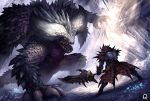 1boy armor battle claws crystal fangs fighting_stance glowing glowing_eyes greatsword horns kuroi-tsuki light_particles light_rays monster monster_hunter monster_hunter:_world nergigante open_mouth rathalos_(armor) scales slit_pupils spiked_armor spikes sunlight sword weapon yellow_eyes