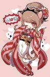 1girl 2016 :d brown_hair chino_machiko copyright_request fang flower hair_flower hair_ornament heart japanese_clothes kimono long_sleeves looking_at_viewer obi one_eye_closed open_mouth red_eyes red_flower red_footwear red_kimono sandals sash sleeves_past_wrists smile solo white_legwear