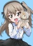 1girl :d bandage bangs black_neckwear black_ribbon black_skirt blue_background boko_(girls_und_panzer) brown_eyes casual collared_shirt commentary eyebrows_visible_through_hair girls_und_panzer hair_ribbon high-waist_skirt holding holding_stuffed_animal kanau light_brown_hair long_hair long_sleeves looking_at_viewer open_mouth ribbon scar shadow shimada_arisu shirt side_ponytail skirt smile solo standing stuffed_animal stuffed_toy suspender_skirt suspenders teddy_bear upper_body white_shirt