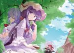 3girls bat_wings blue_bow blue_hair blue_sky book bow braid breasts closed_eyes clouds commentary_request crescent crescent_moon_pin eyebrows_visible_through_hair fumitsuki_(minaduki_6) hat hat_ornament head_wings high_heels holding holding_book koakuma large_breasts light_rays looking_at_viewer multiple_girls no_hat no_headwear open_book parasol patchouli_knowledge purple_hair red_bow red_eyes red_neckwear redhead remilia_scarlet scarlet_devil_mansion shadow sitting sky sunlight touhou tree twin_braids umbrella violet_eyes wings