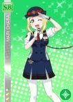 blonde_hair blush character_name dress green_eyes love_live!_school_idol_festival love_live!_sunshine!! ohara_mari short_hair smile wink