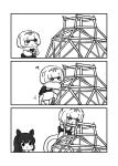 2girls 3koma ? animal_ears anteater_ears anteater_tail bangs blue_eyes bright_pupils character_request climbing comic fur_collar greyscale hair_ribbon hairband highres hippopotamus_(kemono_friends) kemono_friends kotobuki_(tiny_life) monochrome multiple_girls parted_bangs ribbon short_hair silent_comic silky_anteater_(kemono_friends) simple_background white_background