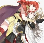 2girls armor aym_(ash3ash3ash) cape celica_(fire_emblem) crown dress fire_emblem fire_emblem_gaiden fire_emblem_heroes gloves grey_hair hair_ornament highres hug long_hair looking_at_viewer multiple_girls open_mouth red_eyes redhead short_hair simple_background smile thigh-highs veronica_(fire_emblem) weapon