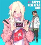 1boy 1girl 2019 akeome animal_ears bangs black_pants blonde_hair blue_background chinese_zodiac coat commentary commentary_request english_commentary grey_hoodie hands_in_pockets happy_new_year holding hood hood_down hoodie long_sleeves looking_at_viewer mask new_year open_clothes open_coat original pants parted_bangs pig_ears pig_mask pink_coat pop_kyun pouch shirt simple_background standing violet_eyes white_coat white_shirt year_of_the_pig