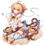 1girl :3 =_= andira_(granblue_fantasy) bell between_legs blonde_hair blue_bow blue_shorts blush bow brown_eyes closed_mouth clouds earmuffs eyebrows_visible_through_hair from_side fur_trim granblue_fantasy highres jingle_bell kneeling long_sleeves looking_at_viewer lying monkey monkey_tail navel on_back petals sharlorc short_twintails shorts staff striped striped_legwear tail tail_bell tail_bow thigh-highs twintails white_background