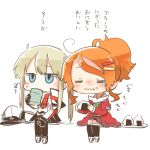 2girls ahoge aquila_(kantai_collection) black_gloves black_legwear black_skirt blonde_hair blue_eyes blush capelet closed_eyes cup drinking_glass eating food food_on_face gloves graf_zeppelin_(kantai_collection) hair_between_eyes hair_ornament hairclip hat hat_removed headwear_removed high_ponytail holding holding_cup holding_food jacket juliet_sleeves kantai_collection long_hair long_sleeves lowres military military_uniform multiple_girls onigiri orange_hair pantyhose peaked_cap pleated_skirt puffy_sleeves rebecca_(keinelove) red_jacket short_hair sidelocks simple_background sitting skirt thigh-highs translated twintails uniform white_background