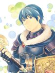 1boy armor blue_eyes blue_hair cape falchion_(fire_emblem) fire_emblem fire_emblem:_monshou_no_nazo fire_emblem_heroes gloves highres looking_at_viewer male_focus marth nishimura_(nianiamu) short_hair smile solo sword tiara weapon