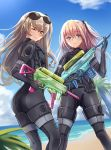 2girls alternate_costume ass bangs beach blue_eyes blue_sky brown_hair closed_mouth day diving_suit eyebrows_visible_through_hair girls_frontline gun hair_between_eyes hair_ornament holding holding_gun holding_weapon long_hair looking_at_viewer multicolored_hair multiple_girls ocean one_eye_closed one_side_up outdoors pink_hair sand scar scar_across_eye side_ponytail sidelocks sky st_ar-15_(girls_frontline) streaked_hair trigger_discipline ump45_(girls_frontline) water_gun weapon wetsuit yellow_eyes yuemanhuaikong