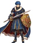 1boy armor armored_boots belt blue_eyes blue_hair boots cape closed_mouth falchion_(fire_emblem) fingerless_gloves fire_emblem fire_emblem:_monshou_no_nazo fire_emblem_heroes full_body fur_trim gloves highres holding holding_shield holding_sword holding_weapon izuka_daisuke jewelry light_smile looking_at_viewer marth official_art sheath shield shiny shiny_hair short_hair short_sleeves shoulder_armor shoulder_pads sword tiara transparent_background weapon