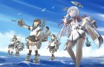 5girls anchor bangs bird black_eyes black_hair black_legwear black_sailor_collar black_skirt blue_sailor_collar blue_skirt blue_sky blunt_bangs brown_eyes brown_hair cannon closed_eyes clouds commentary_request day fubuki_(kantai_collection) full_body hair_ribbon hatsuyuki_(kantai_collection) highres kantai_collection karasu_(naoshow357) kneehighs long_hair low_ponytail low_twintails machinery miyuki_(kantai_collection) multiple_girls murakumo_(kantai_collection) necktie orange_eyes outdoors pantyhose pleated_skirt ponytail red_neckwear remodel_(kantai_collection) ribbon sailor_collar school_uniform serafuku shirayuki_(kantai_collection) short_eyebrows short_hair short_ponytail sidelocks silver_hair skirt sky smile standing standing_on_liquid stretch thighband_pantyhose tress_ribbon turret twintails