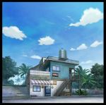 bench black_border blue_sky border clouds convenience_store crate fence mitsu_ura no_humans original outdoors palm_tree scenery shop sky stairs translation_request tree vending_machine water_tank window wooden_fence