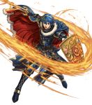 1boy armor armored_boots belt blue_eyes blue_hair boots cape falchion_(fire_emblem) fingerless_gloves fire fire_emblem fire_emblem:_monshou_no_nazo fire_emblem_heroes full_body fur_trim gloves highres holding holding_shield holding_sword holding_weapon izuka_daisuke jewelry marth official_art open_mouth sheath shield shiny shiny_hair shoulder_armor shoulder_pads solo sword tiara transparent_background weapon