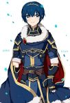 1boy adorable arm_guards armor blue_eyes blue_hair cape fire_emblem fire_emblem:_ankoku_ryuu_to_hikari_no_tsurugi fire_emblem:_monshou_no_nazo fire_emblem:_shin_ankoku_ryuu_to_hikari_no_tsurugi fire_emblem:_shin_monshou_no_nazo fire_emblem_heroes marth pauldrons simple_background smile solo white_background