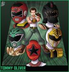 1boy belt black_dino_thunder_ranger boots brown_eyes brown_footwear brown_hair commentary green_background green_pants helmet ian_dimas_de_almeida long_hair mighty_morphin_power_rangers muscle open_mouth pants ponytail pose power_rangers power_rangers_dino_thunder power_rangers_turbo power_rangers_zeo red_turbo_ranger tank_top title tommy_oliver white_tank_top zeo_ranger_v_red
