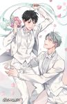 2boys artist_name black_hair blue_eyes bouquet brown_eyes couple eyebrows_visible_through_hair fingernails flower formal gearous grey_background grey_hair half-closed_eyes highres husband_and_husband jewelry katsuki_yuuri light_smile looking_at_another looking_down looking_up male_focus multiple_boys necktie petals pink_flower pink_rose purple_flower ribbon ring rose short_hair simple_background smile suit teeth vest viktor_nikiforov wedding_ring white_background white_flower white_suit yaoi yellow_flower yuri!!!_on_ice