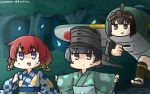 3girls :d alternate_costume arare_(kantai_collection) black_hair brown_eyes brown_hair commentary dated etorofu_(kantai_collection) eyebrows_visible_through_hair hamu_koutarou hat highres hyuuga_(kantai_collection) japanese_clothes kantai_collection kimono long_sleeves multiple_girls obi open_mouth outstretched_arms redhead sash shaded_face short_hair smile spread_arms tree violet_eyes wide_sleeves yukata