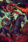 1girl adlovett black_eyes black_hair breathing_fire brown_eyes claws crossdressing disney dragon eastern_dragon fa_mulan_(disney) fire from_side full_body highres holding holding_sword holding_weapon horse horseback_riding kahn_(disney) looking_away medium_hair mulan mushu_(disney) outdoors riding saddle sheath signature sitting smoke sword unsheathed weapon