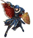 1boy armor armored_boots belt blue_eyes blue_hair boots cape falchion_(fire_emblem) fingerless_gloves fire_emblem fire_emblem:_monshou_no_nazo fire_emblem_heroes full_body fur_trim gloves highres holding holding_shield holding_sword holding_weapon izuka_daisuke jewelry marth official_art parted_lips sheath shield shiny shiny_hair shoulder_armor shoulder_pads solo sword tiara transparent_background weapon