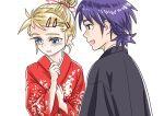 1boy 1girl blonde_hair blue_eyes blue_hair blush chrono_cross commentary_request japanese_clothes kid_(chrono_cross) kimono s-a-murai serge short_hair shy