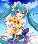 1girl 2016 :d blue_eyes blue_hair blue_sky blush bouquet character_name clouds dated day floating_hair flower hair_between_eyes hair_flower hair_ornament hatsune_miku holding holding_bouquet long_hair looking_at_viewer mamo_(fortune-mm) open_mouth outdoors pink_flower shiny shiny_skin skirt sky sleeveless smile solo sunflower twintails very_long_hair vocaloid white_flower yellow_flower