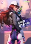 1girl ass bodysuit brown_eyes brown_hair closed_mouth d.va_(overwatch) facial_mark from_behind gloves grey_jacket hand_on_hip hat headphones headset highres holding_drink jacket long_hair looking_at_viewer looking_back orange_hair outdoors overwatch pilot_suit ribbed_bodysuit skin_tight smile stanley_lau whisker_markings white_gloves