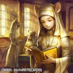 3girls animal_ears book brown_hair chrono_regalia facing_another habit holding holding_book indoors jewelry kageco long_hair mouse_ears mouse_tail multiple_girls necklace nun official_art open_book painting_(object) reading sidelocks sitting standing sunlight tail wide_sleeves window