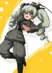1girl :d anchovy anzio_military_uniform arm_up bangs belt black_belt black_footwear black_neckwear black_ribbon black_shirt boots commentary dress_shirt drill_hair dutch_angle eyebrows_visible_through_hair girls_und_panzer green_hair grey_jacket grey_pants hair_ribbon holding jacket kanau knee_boots leg_up long_hair long_sleeves military military_uniform necktie open_mouth pants red_eyes ribbon riding_crop sam_browne_belt shadow shirt smile solo standing standing_on_one_leg twin_drills twintails uniform