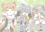 3girls animal_ears belt bird_wings blonde_hair cat_ears collared_shirt commentary elbow_gloves eyebrows_visible_through_hair fang fingerless_gloves fox_ears fur_collar gloves green_eyes grey_hair head_wings kemono_friends light_brown_hair mitsumoto_jouji multicolored_hair multiple_girls necktie pallas's_cat_(kemono_friends) shirt shoebill_(kemono_friends) short_hair short_sleeves shorts tibetan_sand_fox_(kemono_friends) tongue tongue_out uniform white_hair wings yellow_eyes
