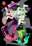 +_+ 2girls :d aori_(splatoon) arm_up bangs bare_shoulders black_background black_dress black_footwear black_hair brown_eyes detached_sleeves domino_mask dress earrings eyebrows_visible_through_hair full_body gloves green_legwear grey_hair heart hotaru_(splatoon) jewelry looking_at_viewer mask mole mole_under_eye multiple_girls open_mouth outline pantyhose pink_legwear pointy_ears purple_legwear siblings sisters sleeveless sleeveless_dress smile splatoon strapless strapless_dress swept_bangs thick_eyebrows umou_(user_xxhp7583) white_gloves