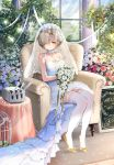 1girl armchair azur_lane bare_arms bare_shoulders birdcage blonde_hair blue_flower blue_rose blush bouquet bow breasts bridal_veil bride bush cage chair cleavage closed_mouth collar collarbone column commentary_request cross cross_earrings day dress earrings flower french full_body garter_straps glint hair_flower hair_ornament hair_over_one_eye high_heels highres holding holding_bouquet indoors jewelry kiyosato0928 light light_frown light_rays medium_breasts pillar pink_flower pink_rose rose see-through sheffield_(azur_lane) shoe_bow shoes short_hair sign sitting sleeveless sleeveless_dress solo sunbeam sunlight table thigh-highs tied_hair turret veil wedding_dress white_dress white_flower white_legwear white_rose window yellow_bow yellow_footwear