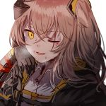 bangs brown_hair bruise collared_shirt crossed_bangs damaged dirty fingerless_gloves girls_frontline gloves hair_between_eyes hair_ornament hand_up headgear injury jacket long_hair looking_at_viewer mod3_(girls_frontline) one_eye_closed one_side_up open_mouth scar scar_across_eye shirt silence_girl simple_background smile strap sweat ump45_(girls_frontline) upper_body white_background yellow_eyes