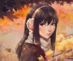 1girl autumn autumn_leaves bangs black_hair blush brown_eyes brown_jacket closed_mouth commentary_request earmuffs face falling_leaves from_side hair_between_eyes highres jacket kimishima_kana kiseijuu leaf long_hair looking_at_viewer looking_to_the_side miura-n315 motion_blur outdoors portrait red_lips scarf shiny shiny_hair sidelocks smile solo straight_hair tree_branch white_scarf