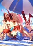 6+girls bare_shoulders barefoot beach beach_towel beach_umbrella bikini black_bikini blonde_hair blue_kimono blue_sky blush breasts cleavage clouds collarbone commentary_request day elizabeth_bathory_(fate) elizabeth_bathory_(fate)_(all) facial_mark fang_out fangs fate/grand_order fate_(series) fingernails food forehead_mark front-tie_top hat highres horns ibaraki_douji_(fate/grand_order) ibaraki_douji_(swimsuit_lancer)_(fate) japanese_clothes kimono long_hair looking_at_viewer lying multiple_girls nero_claudius_(fate) nero_claudius_(fate)_(all) nero_claudius_(swimsuit_caster)_(fate) ocean on_stomach oni oni_horns outdoors pink_hair pointy_ears popsicle purple_hair saint_martha saint_martha_(swimsuit_ruler)_(fate) sharp_fingernails shuten_douji_(fate/grand_order) sky smile swimsuit tamamo_(fate)_(all) tamamo_no_mae_(fate) tamamo_no_mae_(swimsuit_lancer)_(fate) tattoo towel umbrella very_long_hair water yapo_(croquis_side) yellow_eyes