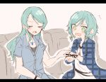 2girls aqua_hair bang_dream! blue_hair braid closed_eyes couch glasses green_eyes hikawa_hina hikawa_sayo itomugi-kun letterboxed long_hair multiple_girls short_hair siblings sisters twin_braids twins