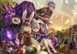 1girl 4boys animal_ears aosta_(sdorica_-sunset-) black_gloves book brother_and_sister character_request charle_(sdorica_-sunset-) closed_eyes egg facing_viewer flower gloves grey_hair hand_up hat holding holding_book jeonpa leah_(sdorica_-sunset-) lio_(sdorica_-sunset-) mecha monocle multiple_boys open_book open_mouth outdoors paws purple_hair rabbit_ears red_eyes sdorica_-sunset- siblings sitting standing sunset thought_bubble white_hair
