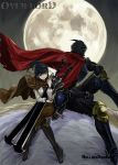 1boy 1girl ainz_ooal_gown armor armored_boots bangs black_eyes black_footwear black_hair black_pants blunt_bangs boots breastplate brown_cloak brown_pants copyright_name floating_hair full_armor full_moon gauntlets hair_ribbon helmet high_ponytail highres holding holding_sword holding_weapon knee_boots legs_crossed long_hair moon narberal_gamma overlord_(maruyama) pants red_cloak ribbon riding shiny shiny_hair shirt sidelocks sitting sword weapon white_shirt yellow_ribbon