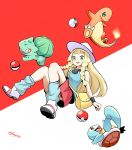 1girl blonde_hair blue_(pokemon) blue_(pokemon)_(cosplay) bulbasaur charmander cosplay gen_1_pokemon glassy0302 green_eyes highres lillie_(pokemon) poke_ball pokemon_(creature) red_eyes skirt squirtle