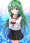 alternate_costume alternate_outfit black_skirt blue_background blue_eyes blush closed_hands collar e.o. frog green_hair hair_accessories hair_tube kochiya_sanae long_sleeves miniskirt neckerchief school_uniform seifuku skirt snake touhou
