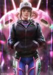 1girl bodysuit brown_eyes brown_hair cowboy_shot d.va_(overwatch) dcwj dirty_face hands_in_pockets hat highres lips long_sleeves looking_at_viewer mecha nose overwatch parted_lips plugsuit shooting_star_d.va solo teeth watermark web_address