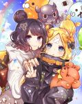 >_o 2girls abigail_williams_(fate/grand_order) absurdres animal anniversary balloon bangs black_bow black_hat black_jacket blonde_hair blue_eyes blue_sky blush bow closed_mouth clouds commentary_request copyright_name day fate/grand_order fate_(series) fingernails fou_(fate/grand_order) grey_hoodie hair_bow hand_on_another's_shoulder hand_up hat heart heroic_spirit_traveling_outfit hi_(wshw5728) highres hood hood_down hoodie jacket katsushika_hokusai_(fate/grand_order) long_hair long_sleeves looking_at_viewer medjed multiple_girls object_hug octopus one_eye_closed orange_bow outdoors parted_bangs parted_lips polka_dot polka_dot_bow purple_hair rainbow sky sleeves_past_fingers sleeves_past_wrists smile stuffed_animal stuffed_toy teddy_bear tokitarou_(fate/grand_order) v