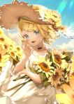 1girl :d bangs blonde_hair blue_eyes blue_sky bouquet collar collarbone day dress field floating_hair flower flower_field hair_ornament hat highres holding holding_bouquet kagamine_rin looking_at_viewer open_mouth outdoors parted_bangs sawashi_(ur-sawasi) shiny shiny_hair short_hair sky sleeveless sleeveless_dress smile solo sparkle standing straw_hat sun_hat sundress sunflower sunlight sweatdrop vocaloid white_dress yellow_flower yellow_hat