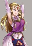 1girl armpits belt blonde_hair earrings elbow_gloves elf forehead_jewel gloves highres jewelry kaorihero long_hair looking_to_the_side pointy_ears princess_zelda simple_background smile solo stretch the_legend_of_zelda the_legend_of_zelda:_ocarina_of_time