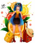 1girl artist_name backpack bag bandaid bandaid_on_face bangs black_skirt blue_eyes blue_hair blush boots earrings eyebrows_visible_through_hair eyewear_on_head facial_mark food fruit grin hair_between_eyes hair_ornament hairclip hat hat_removed hatsune_miku headwear_removed highres holding holding_hair jewelry lemon lemon_slice long_hair orange orange_slice pleated_skirt print_shirt red_footwear rolling_suitcase shimmer shirt short_sleeves signature skirt smile solo standing star star_earrings sun_hat sunglasses twintails very_long_hair vocaloid white_background yellow-framed_eyewear yellow_shirt