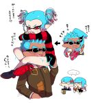 ... 2boys 2girls anger_vein aqua_hair arrow_(symbol) bangs black_footwear black_shorts blank_eyes blunt_bangs blunt_ends blush bowl_cut brown_jacket carrying commentary cropped_torso crossed_arms cup dark-skinned_male dark_skin dated disposable_cup dolphin_shorts double_egg-kun_(splatoon) drinking earrings eating fang frown glaring gradient_hair half-closed_eyes jacket jewelry long_sleeves looking_at_another multicolored_hair multiple_boys multiple_girls omega-chan_(splatoon) open_mouth pointy_ears red_eyes red_shirt red_sole-chan_(splatoon) redhead shirt shoes short_hair short_twintails shorts shoulder_carry shrimp spiky_hair splatoon_(manga) splatoon_(series) spoken_ellipsis squid squiggle standing striped striped_shirt sunglasses sweatdrop translated twintails very_short_hair vintage-kun_(splatoon) yeneny