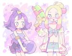 2girls :3 acerola_(pokemon) ball beachball blonde_hair blush blush_stickers creatures_(company) dress game_freak hair_ornament highres long_hair long_sleeves matsurika_(pokemon) midriff multiple_girls nintendo open_mouth paint_on_clothes paint_on_face pokemon pokemon_(game) pokemon_sm purple_hair remoooon short_hair shorts smile star swimwear water_gun